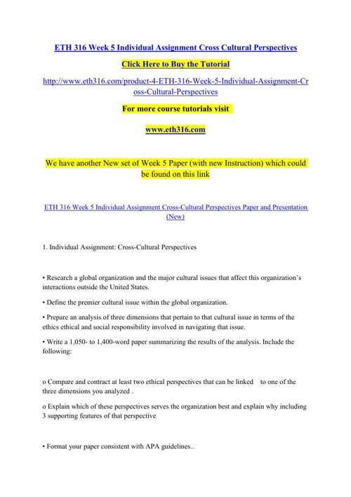 ETH 316 Week 5 Individual Assignment Cross Cultural Perspectives