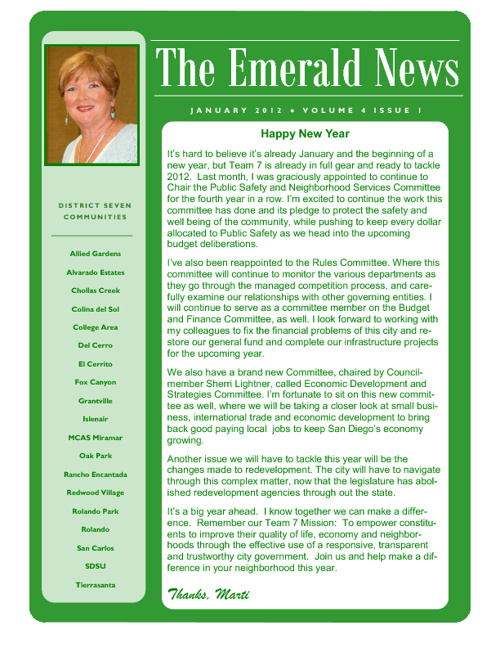 The Emerald News: Volume 4, Issue 1 (January 2012)