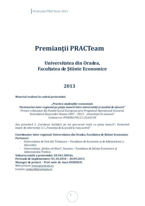 PRACTeam - Volum prezentare Premianți Oradea, 2013