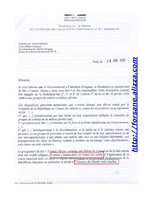 Dissolution de Forsane Alizza envisagée