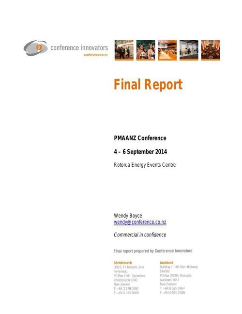 PMAANZ 2014 Final Report