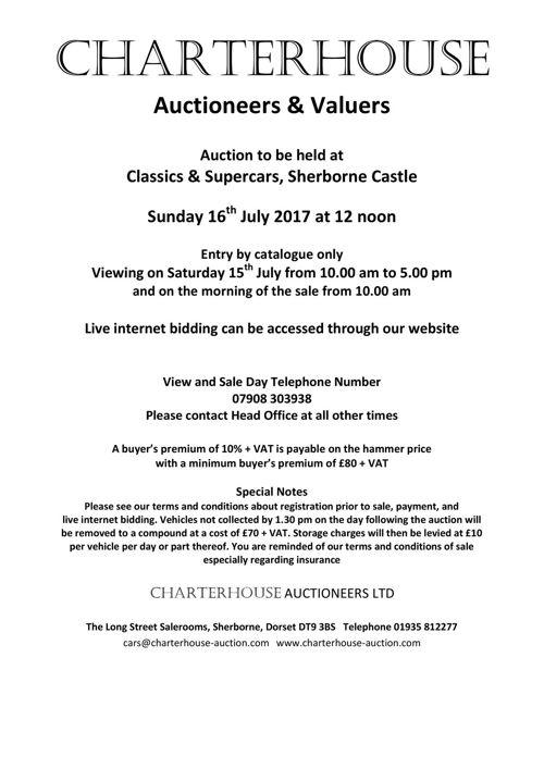 Charterhouse July 2017 Car Auction Catalogue