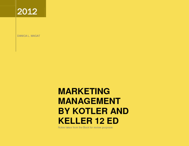 Marketing Management by Kotler & Keller