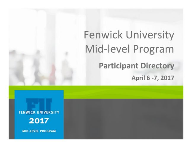 2017 Fenwick U Mid-level Participant Directory