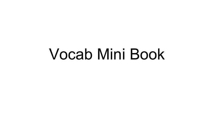 Vocab mini book