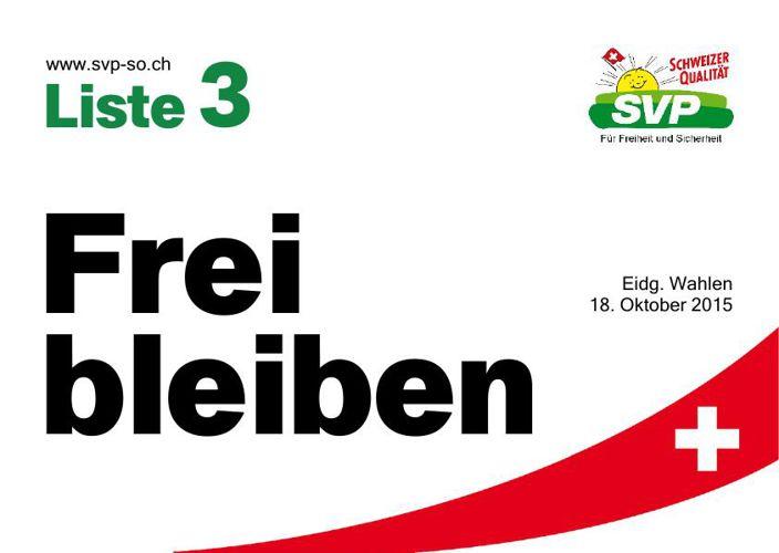 Wahlprospekt der SVP Kanton Solothurn (Liste 3)