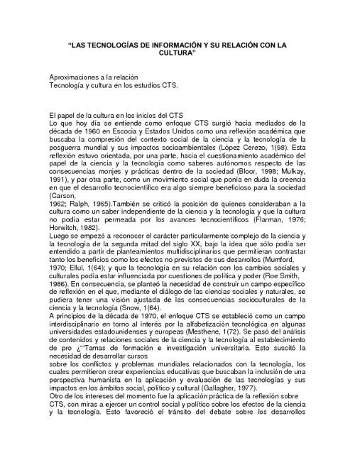 TECNOLOGIA DE LA INFORMACION Y SU RELACION CON LA CULTURA
