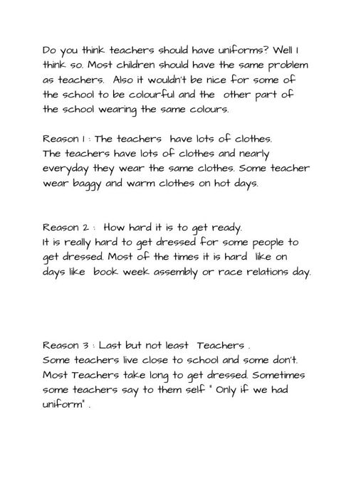 My Speech Teachers should have school uniform