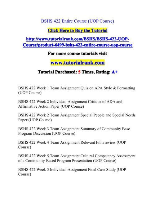 BSHS 422 Potential Instructors / tutorialrank.com
