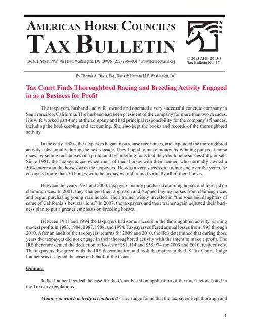AHC Tax Bulletin-May 2015