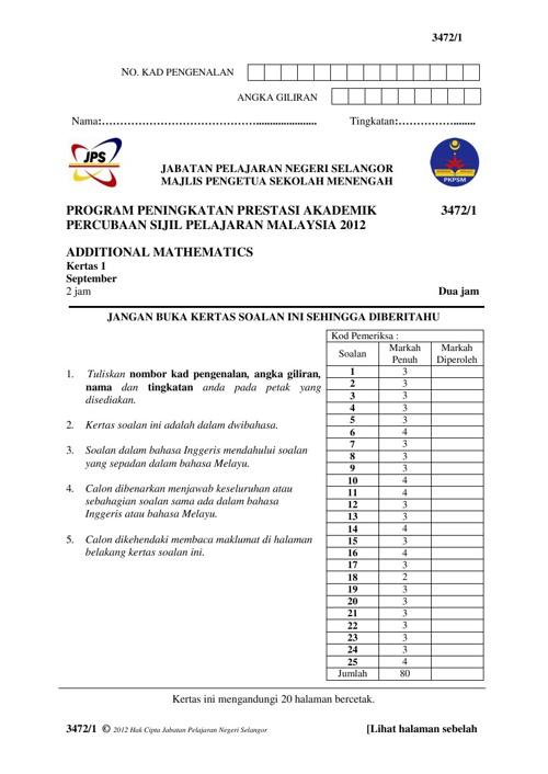 Trial Negeri Selangor 2012