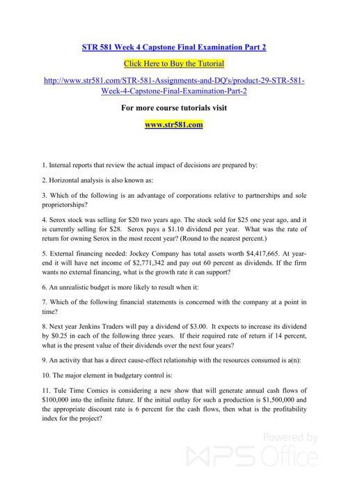 STR 581 Week 4 Capstone Final Examination Part 2