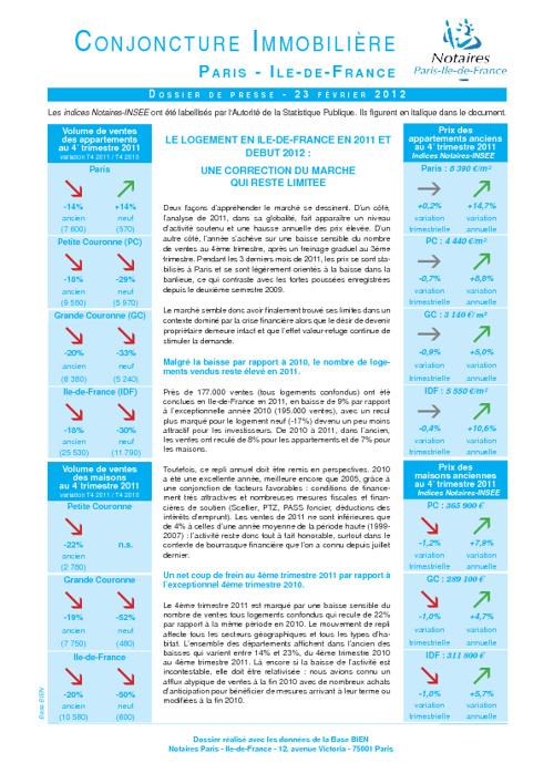 IMMOBILIER EN ILE-DE-FRANCE EN 2011 et DEBUT 2012