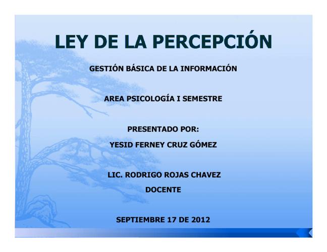 LEY DE LA PERCEPCIÓN