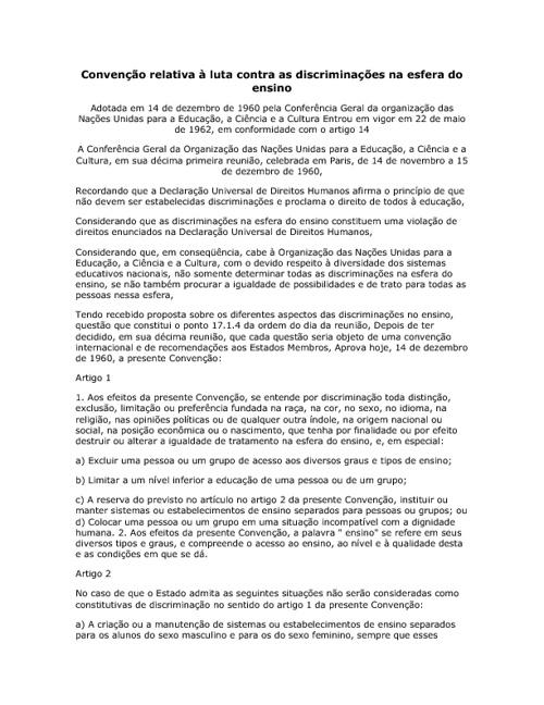 Convenção relativa à luta contra as discriminações