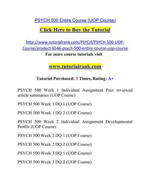 PSYCH 500 Course Career Path Begins / tutorialrank.com