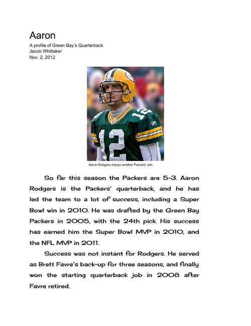 Aaron Rodgers profile