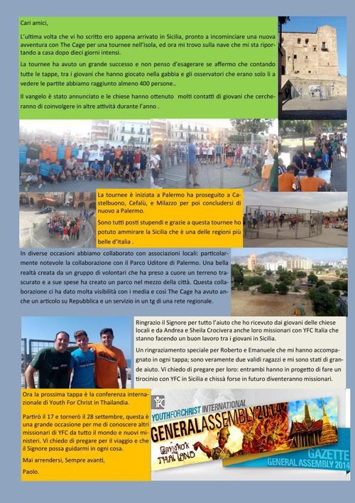 Notiziario tournee in Sicilia