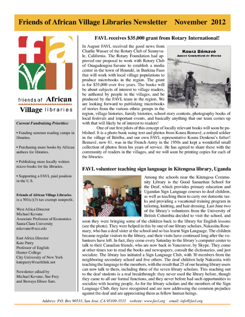 Friends of African Village Libraries Newsletter, November 2012