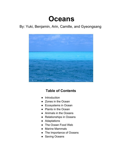 Oceans - A collaborative book about the ocean biome.