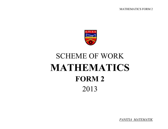 SCHEME OF WORK - MATHEMATICS FORM 2