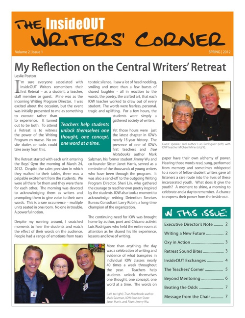 Writers Corner Vol 2 Iss 1  Spring 2012