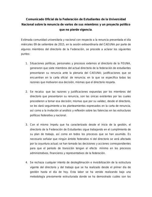 Comunicado Oficial de la Federación de Estudiantes de la Univers