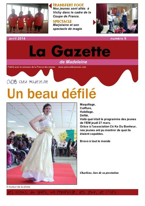 La gazette de Madeleine n°9 - avril 2014
