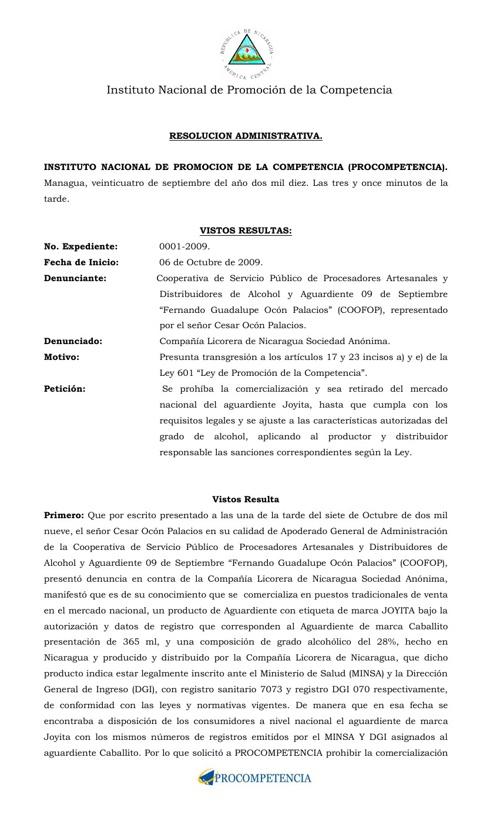 Resolucion Expediente 0001-2009