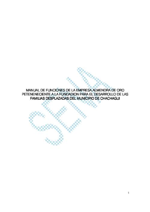 MANUAL DE FUNCIONES DE LA ASOCIACION FUNFADES CHACHAGUI