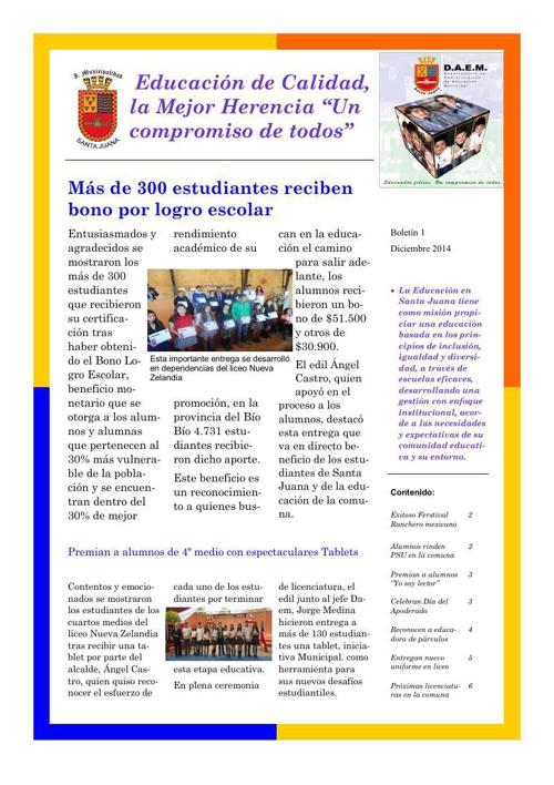 Informativo DAEM Santa Juana | Edición 1