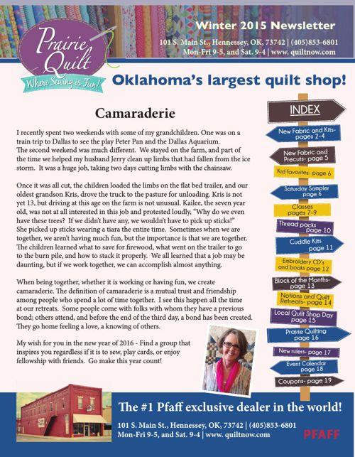 Prairie Quilt Winter newsletter 2015