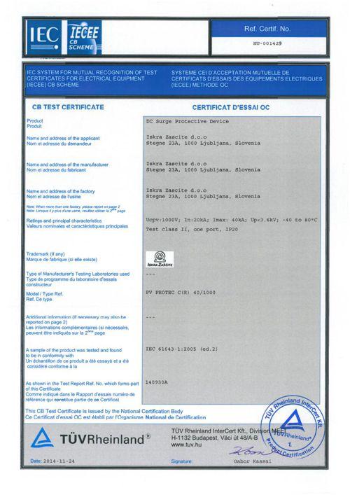 TUV CB Test Certificate HU 1429 PV PROTEC CR 40_1000 2014-11-24