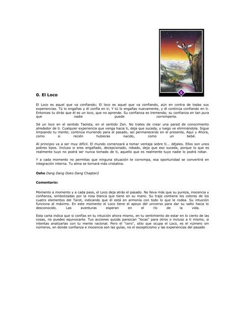 Catálogo tarot OSHO