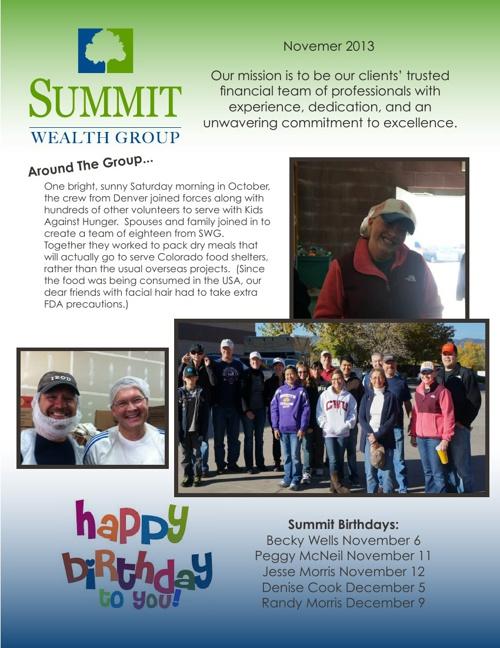 SWG November 2013 Newsletter