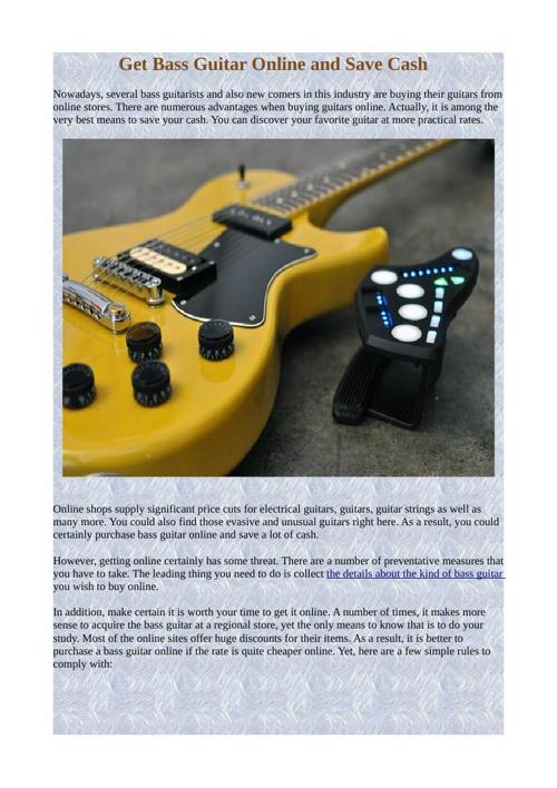 Get Bass Guitar Online and Save Cash