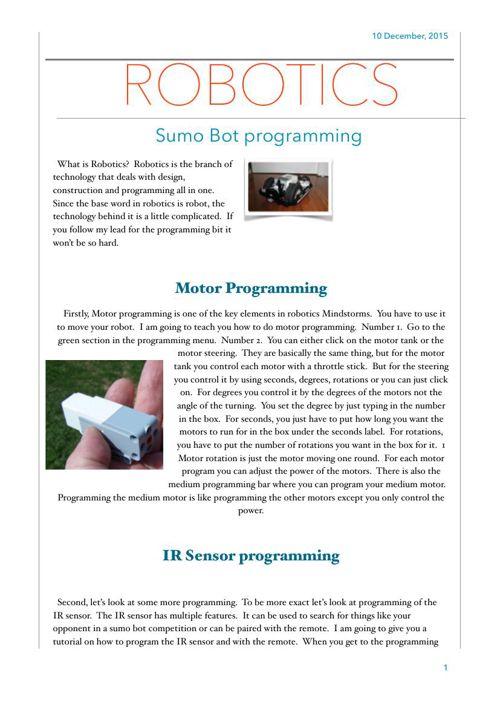 Robotics Sumo Bot Programming Kenneth