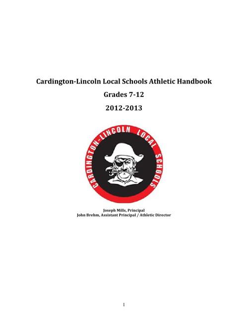CARDINGTON-LINCOLN ATHLETIC HANDBOOK