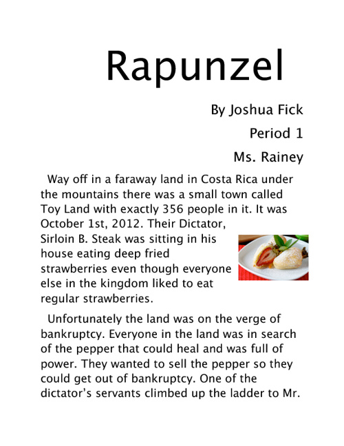 Rapunzel Final draft   Joshua Fick