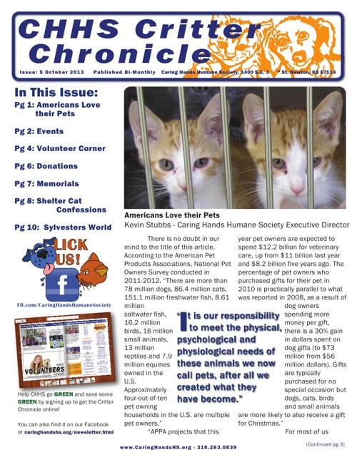October 2013 Critter Chronicle