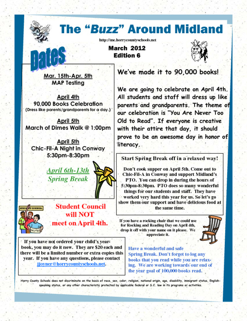 News from MES for April 2nd-5th