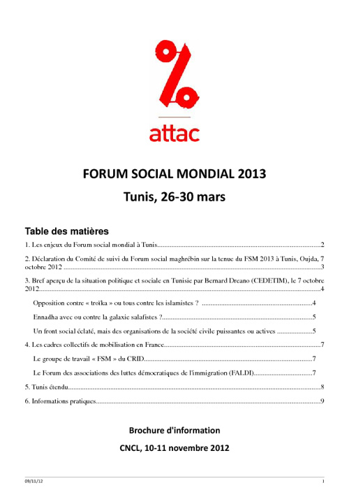 Forum Social Mondial Tunis 2013 par Attac