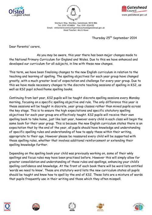 Spelling changes letter to KS2 parents