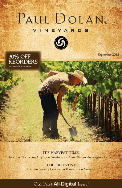 Paul Dolan Vineyards Newsletter - Fall 2012