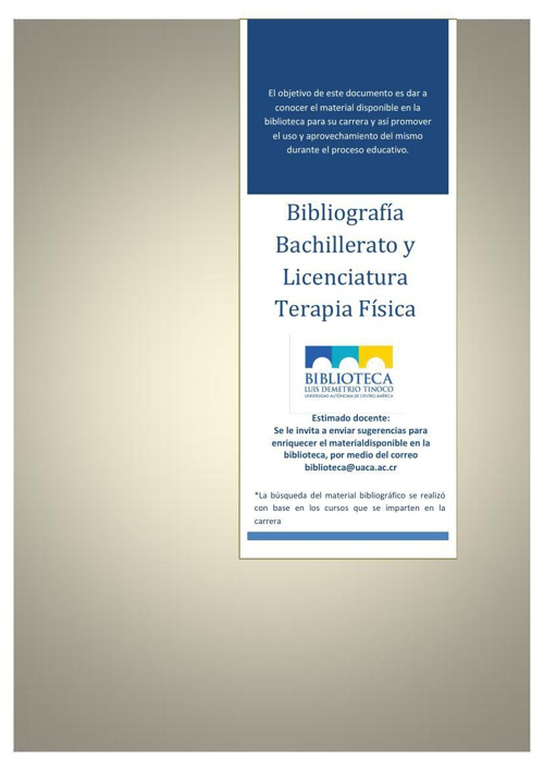 BIBLIOGRAFÍA BACHILLERATO Y LICENCIATURA TERAPIA FISICA