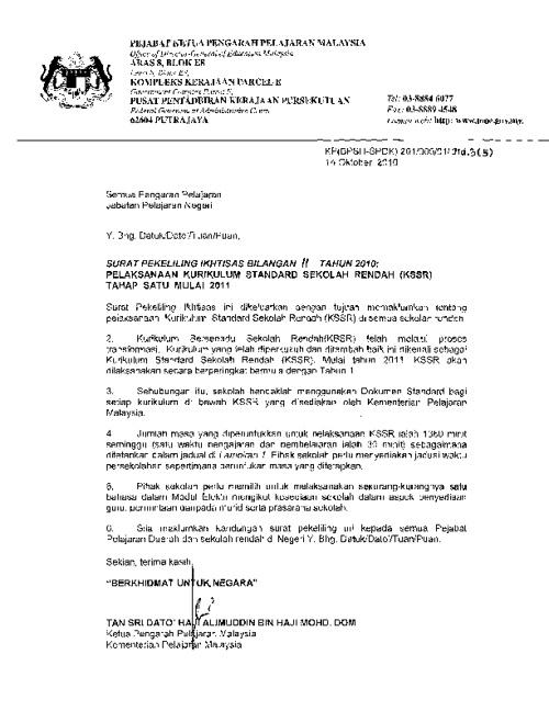 Surat Pekeliling Pelaksanaan KSSR