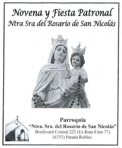 Novena y Fiesta Patronal de la Pquia Ntra Señora del Rosario, Pd