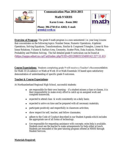 Communication Plan 2014-15
