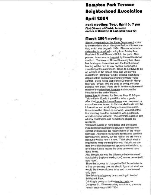 HPT Newsletter April 2004