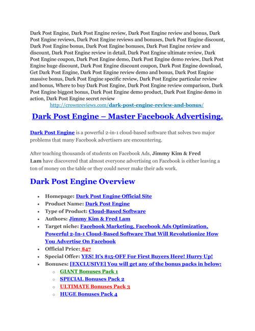 Dark Post Engine review & huge +100 bonus items